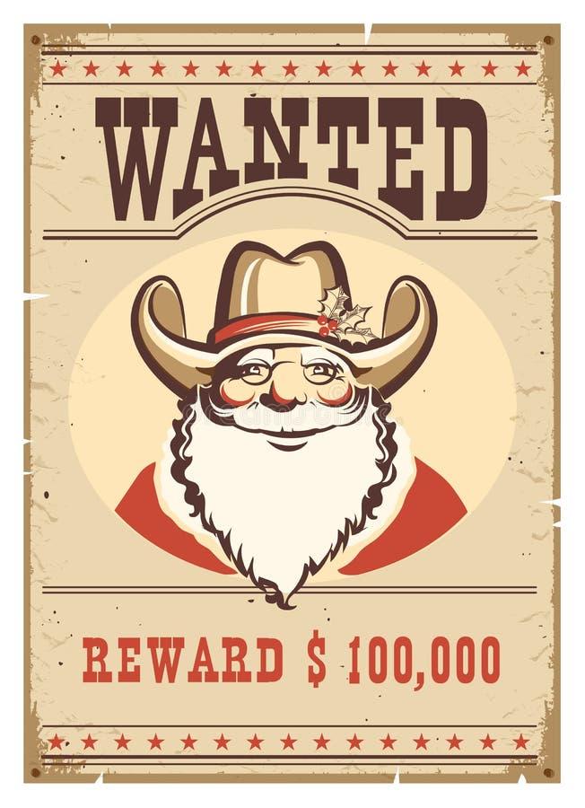 Chcieć plakatowy Święty Mikołaj w kowbojskim kapeluszu na starej papierowej karcie ilustracji