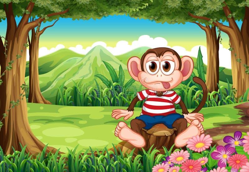 Chełpliwy małpi obsiadanie nad fiszorek ilustracji