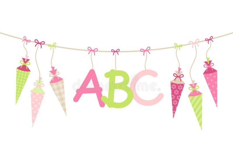 Che appende la scuola le cornette ragazza e ABC segna il verde con lettere rosa royalty illustrazione gratis