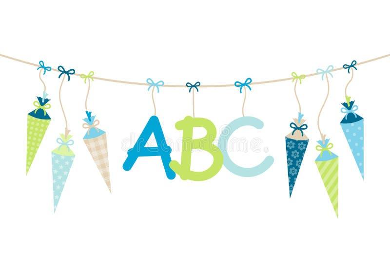 Che appende la scuola le cornette ragazzo e ABC segna il verde con lettere blu illustrazione vettoriale
