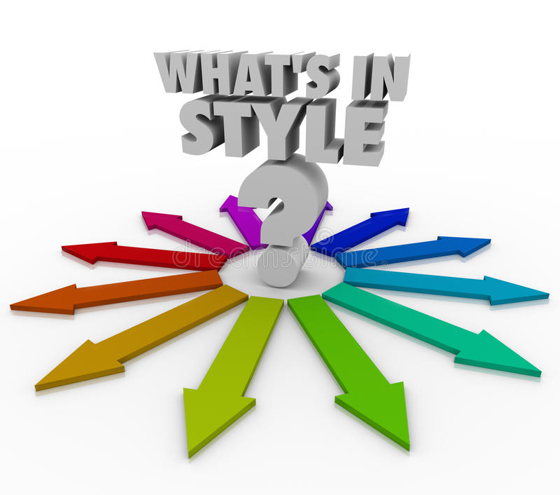 Che cosa è in domanda Mark Current Design Fashion Trend di parole di stile royalty illustrazione gratis