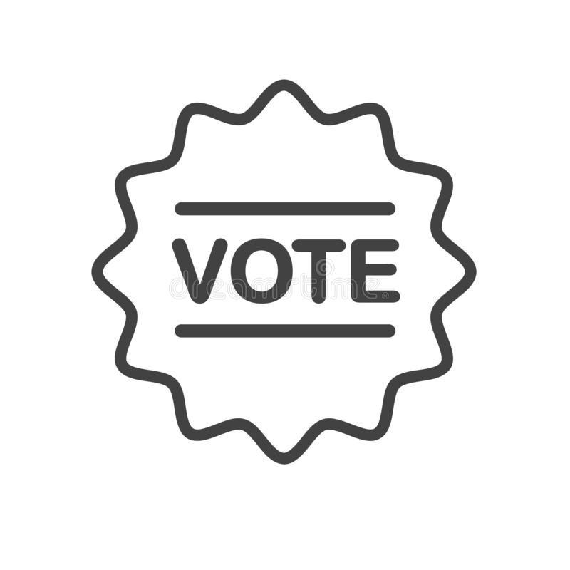 Che cosa è il vostro parere? I vostri conteggi di voto! Icona di vettore del profilo Distintivo, progettazione dell'autoadesivo illustrazione di stock