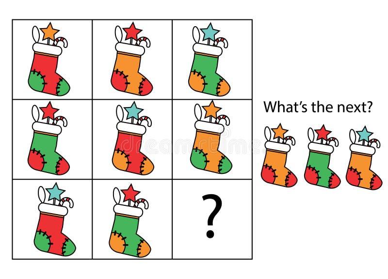 Che cosa viene gioco educativo seguente dei bambini Scherza la scheda di attività, continuano il compito di fila Nuovo anno, Nata illustrazione vettoriale