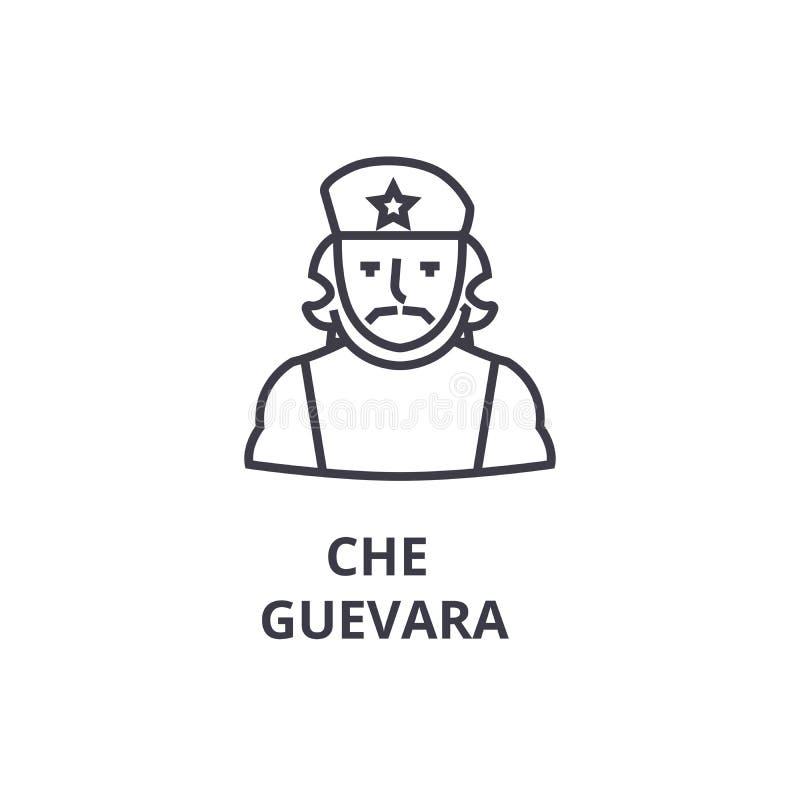 Che guevara cienka kreskowa ikona, znak, symbol, illustation, liniowy pojęcie, wektor ilustracja wektor