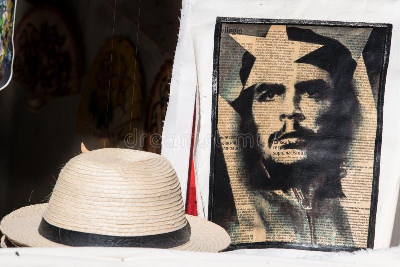 Che Guevara druk na gazecie, Kubański słomiany kapelusz, Hawański obrazy stock