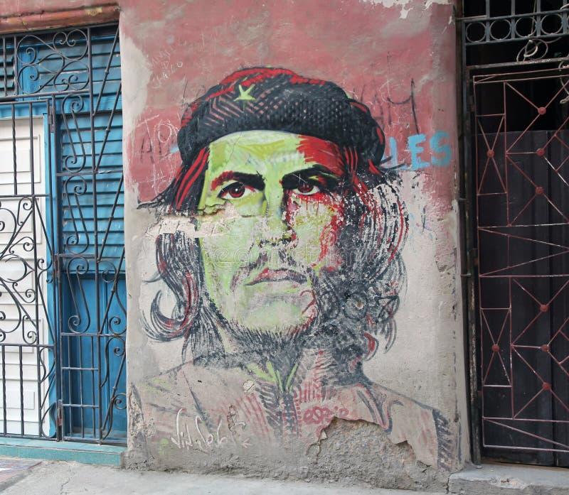 Che Guevara graffiti. Graffiti painting of Che Guevara on a wall in old Havana,Cuba stock image