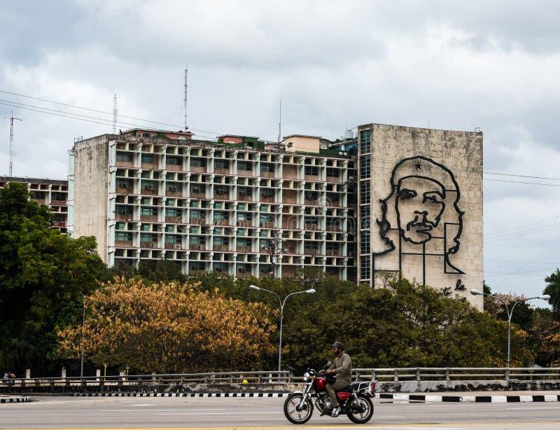 Che Guevara malowidło ścienne, minister spraw wewnętrznych, Hawański, Kuba obrazy stock
