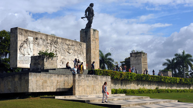 Che Guevara Memorial. SANTA CLARA, CUBA - JANUARY 19, 2016: People gather at the Mausoleum and memorial of national hero Che Guevara and 29 others who fought stock image
