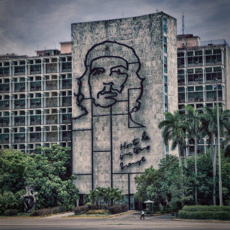Che Guevara picture at Plaza de la Revolucion. Government building stock photo