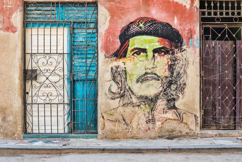 Che Guevara-portret in Oud Havana stock afbeelding