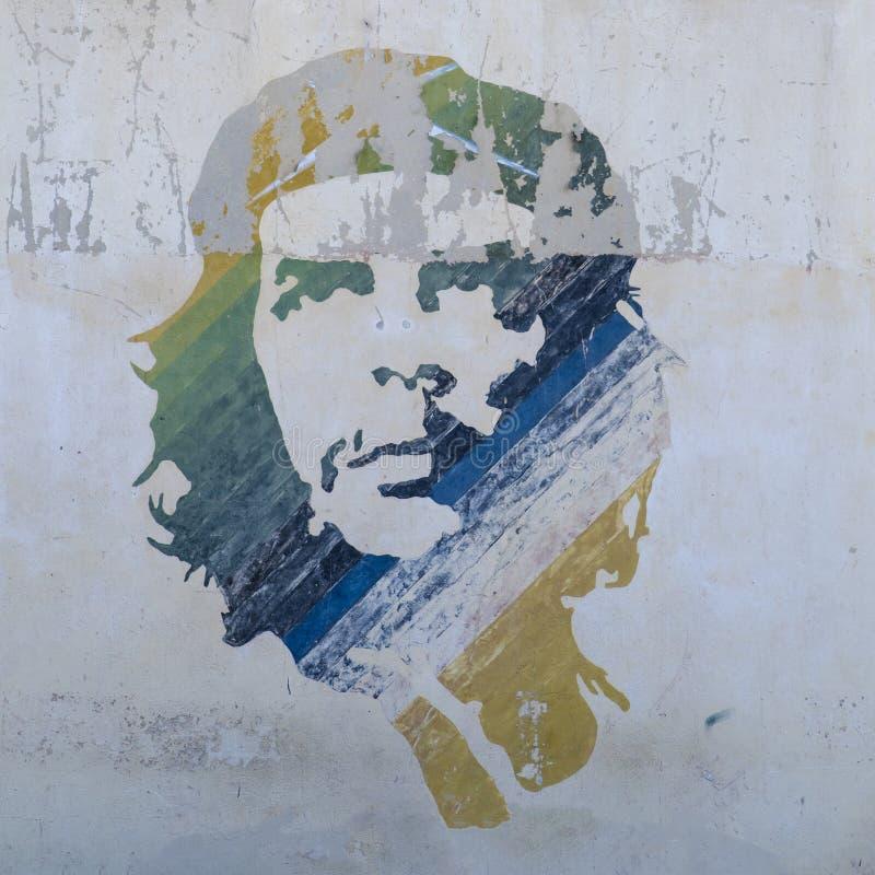 Che Guevara wall painting, Havana, Cuba. Ernesto Che Guevara, Leader of the Cuban Revolution, mural painting stock image