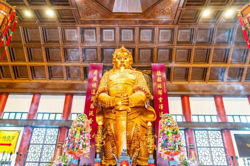 Che Kung大金黄雕象在Che Kung寺庙,香港 免版税库存照片