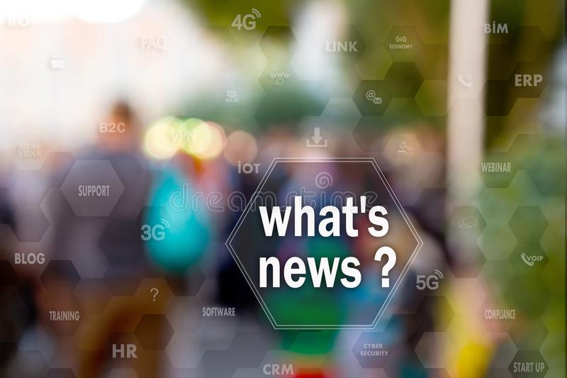 Che notizie del ` s, sul touch screen con le statistiche sulla gente offuscano il fondo Concetto di che notizie del ` s? immagine stock