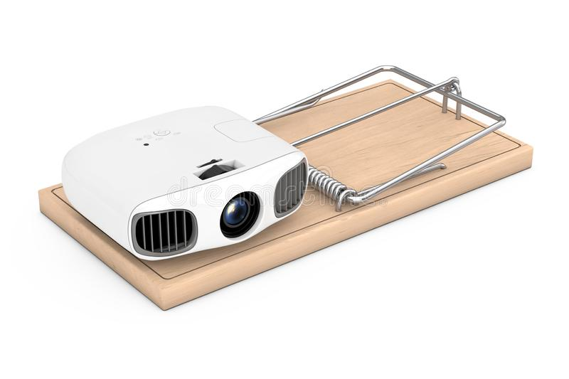 Cheap Electronic Problems Concept. Home Cinema Entertainment Full HD Projector in Wooden Mousetrap. 3d Rendering vector illustration