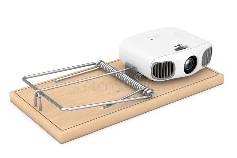 Cheap Electronic Problems Concept. Home Cinema Entertainment Full HD Projector in Wooden Mousetrap. 3d Rendering. Cheap Electronic Problems Concept. Home Cinema stock illustration