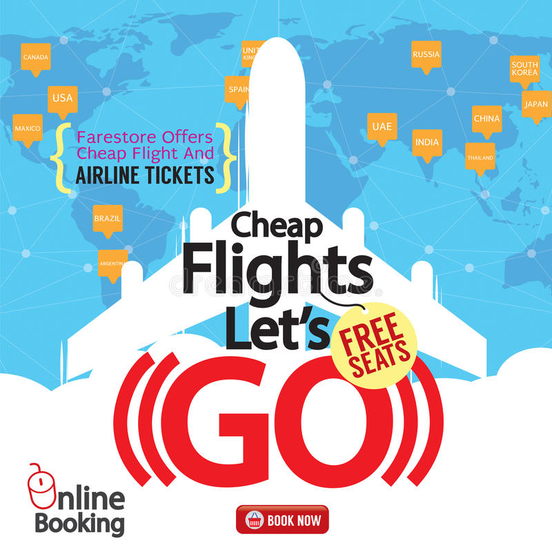 Free Cheap Flights Advertising Banner. Stock Photos - 72097283