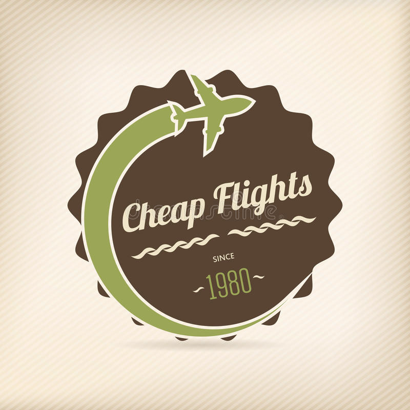 Cheap flights badge. For travel company offers vector illustration