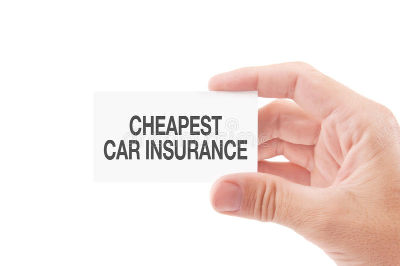 Cheapest Car Insurance Policies. Vehicle Insurance Agent Holding Business Card with Cheapest Car Insurance Policies Title, Isolated on White Background royalty free stock photo