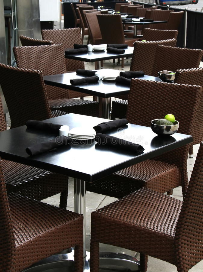 Table and Chears. Image of a business cafe in the airport area stock photo