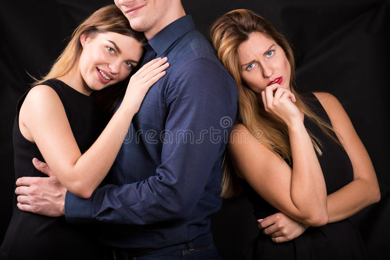 Cheated woman suffering after betrayal. Picture of cheated women suffering after betrayal royalty free stock photos
