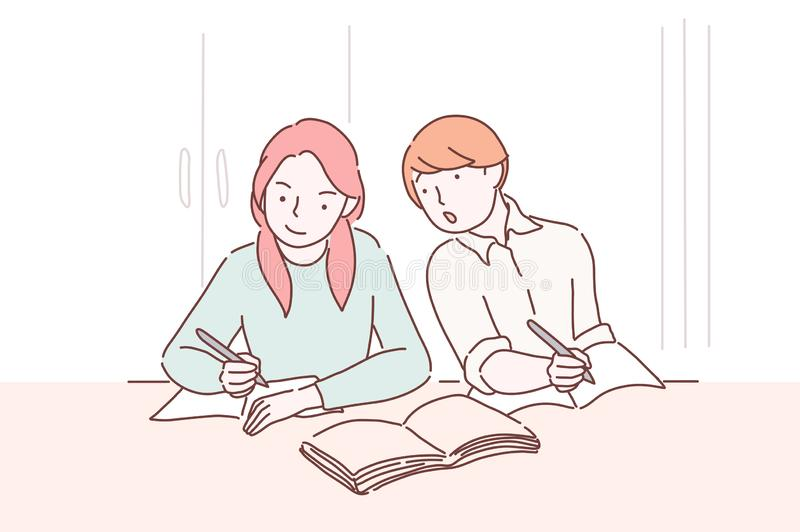Cheating on test. Teenager student peeping to the test-book of his female classmate sitting one desk before him. Boy stock illustration
