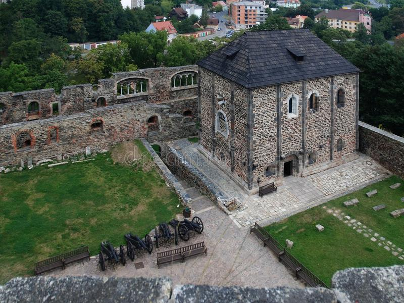 Cheb castle - Chapel of St Erhard and Urshula. Chapel of St Erhard and Urshula in Cheb castle. The view from black tower stock image
