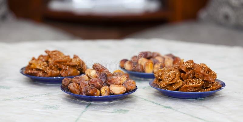 Chebakiah and dates. Ramadan and iftar concept. chebakia and dates for iftar. royalty free stock image