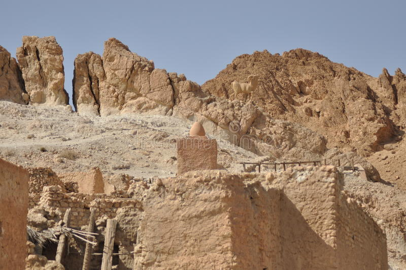 Chebikaoase in zuidelijk Tunesië. royalty-vrije stock foto's