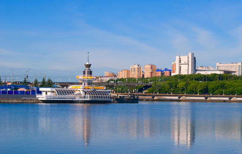 Cheboksary, Chuvash Republic, Russian Federation. Cheboksary, Moscow views of the bridge and the Opera and Ballet Theatre by the bay - close-up royalty free stock photography