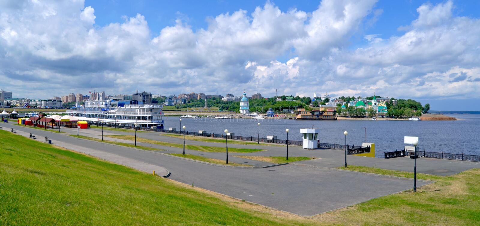 Cheboksary, Russia, summer, the general plan. Cheboksary, Russia, view from the river to the historic city stock photo