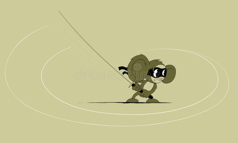 Cheburashka-ninja с katana иллюстрация штока