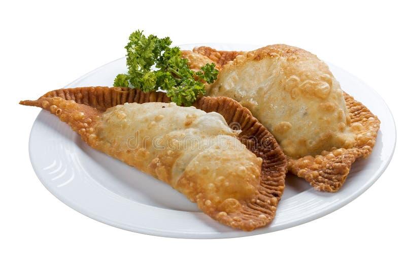 Cheburek - tarte frit avec de la viande et des oignons images stock