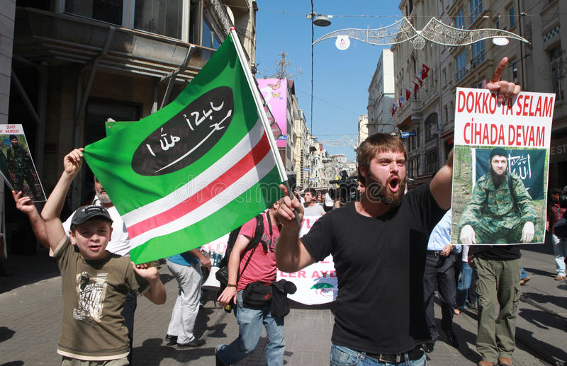 Chechen protest in Istanbul,Turkey royalty free stock image