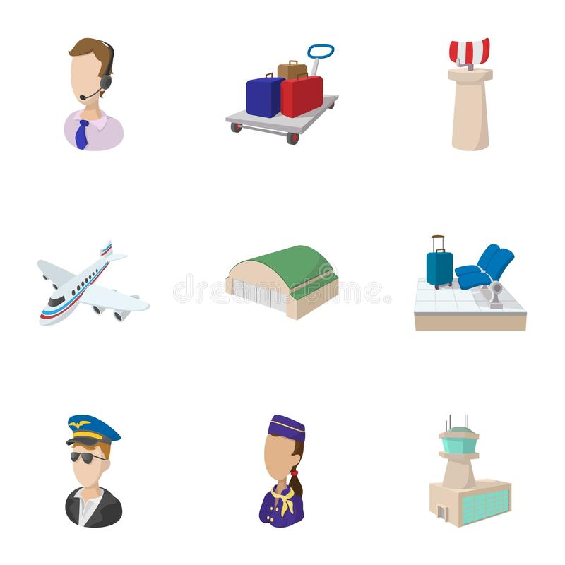 Check at airport icons set, cartoon style royalty free illustration