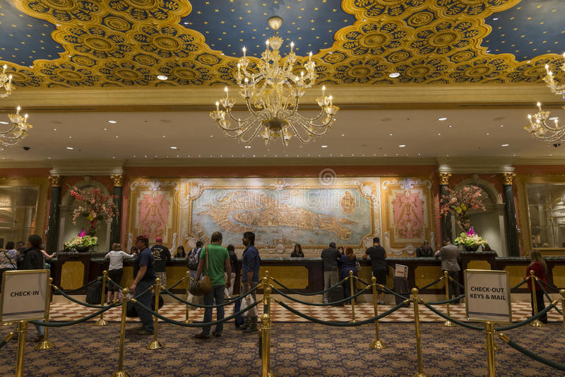 The check in area of the Venetian hotel in Las Vegas. royalty free stock photo