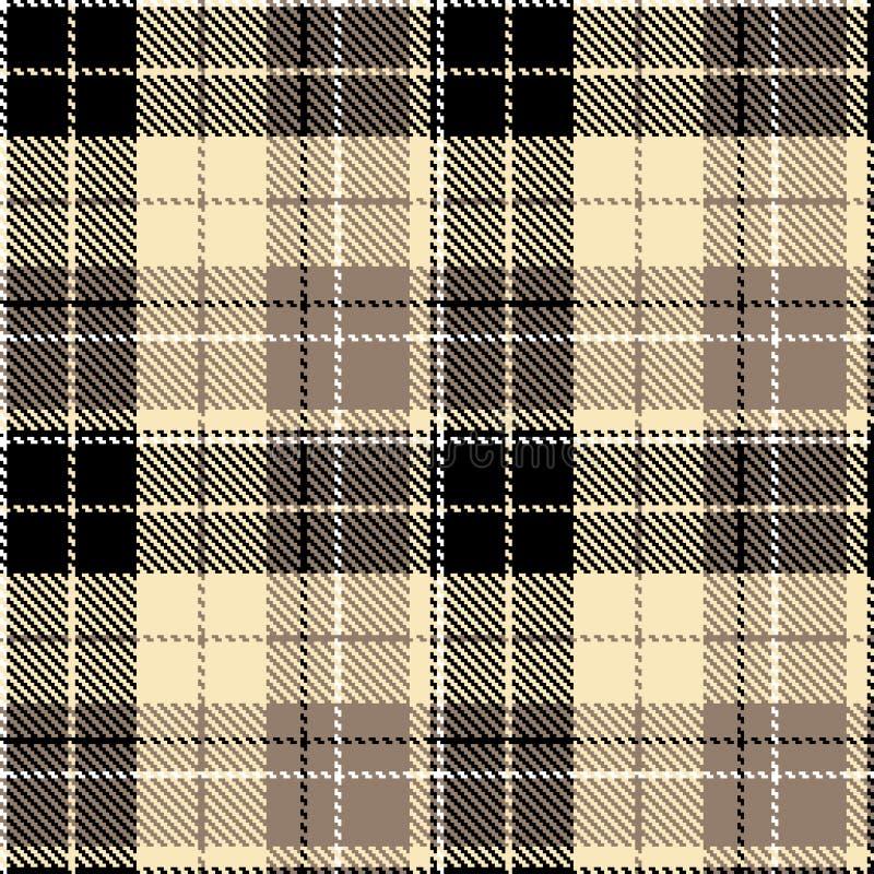 Check black beige fabric textil vector illustration