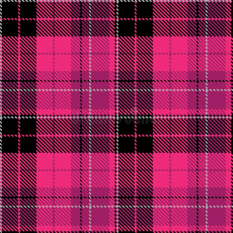 Check black pink fabric pattern cloth vector illustration