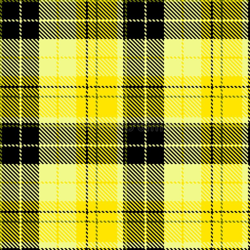 Check black yellow fabric textil vector illustration