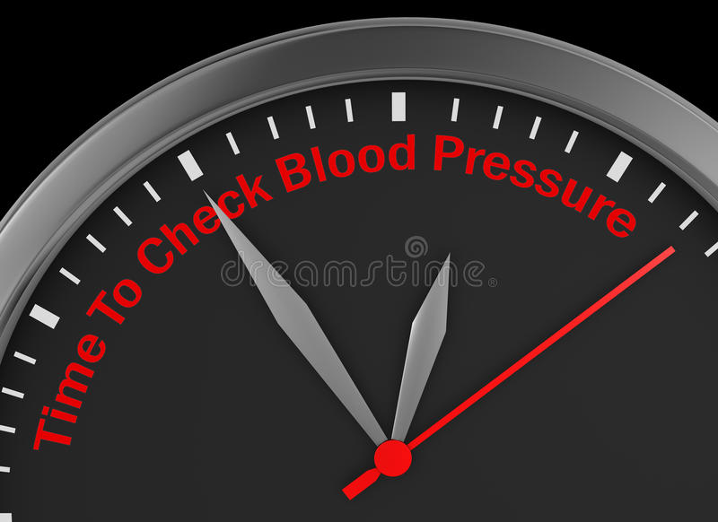 Check blood pressure. Motivation message on concept clock 3d rendering vector illustration