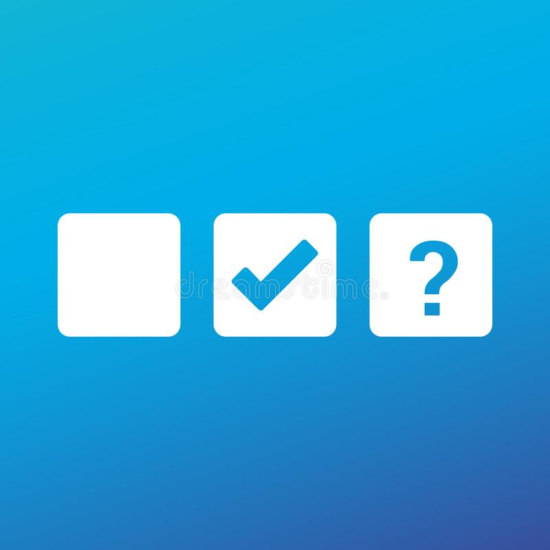 Check box blank, checkmark and Question mark, tick check mark, approval signs design. OK symbol icons in square check boxes. Check. List marks, choice options stock illustration