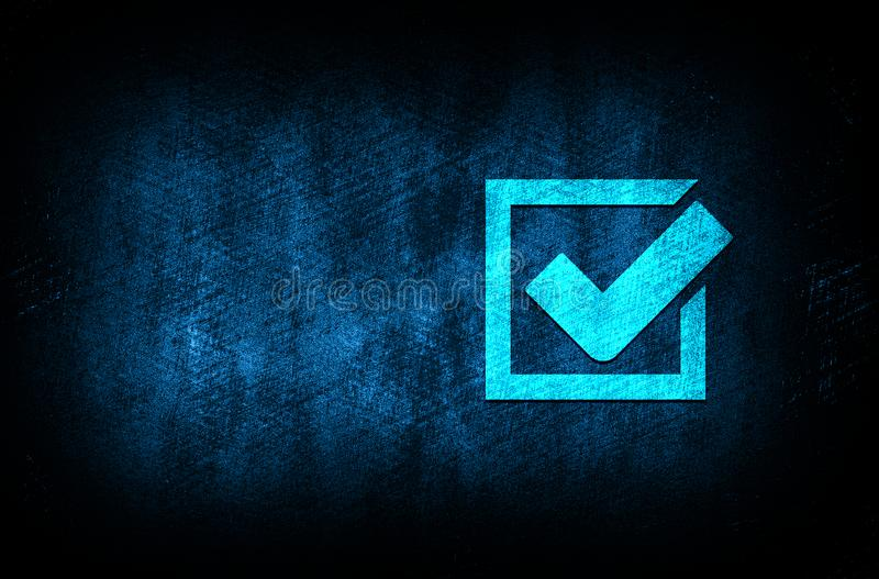 Check box icon abstract blue background illustration digital texture design concept. Check box icon abstract blue background illustration dark blue digital royalty free illustration