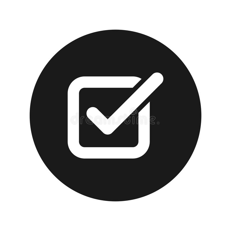 Check box icon flat black round button vector illustration royalty free illustration