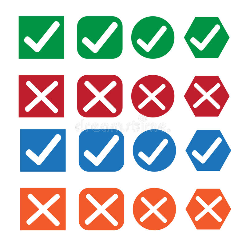 Check box icon set stock illustration