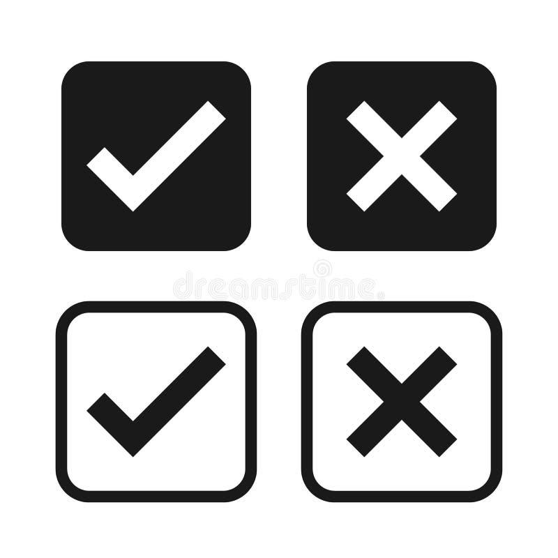 Check box list icons set, black isolated on white background, vector illustration. royalty free illustration