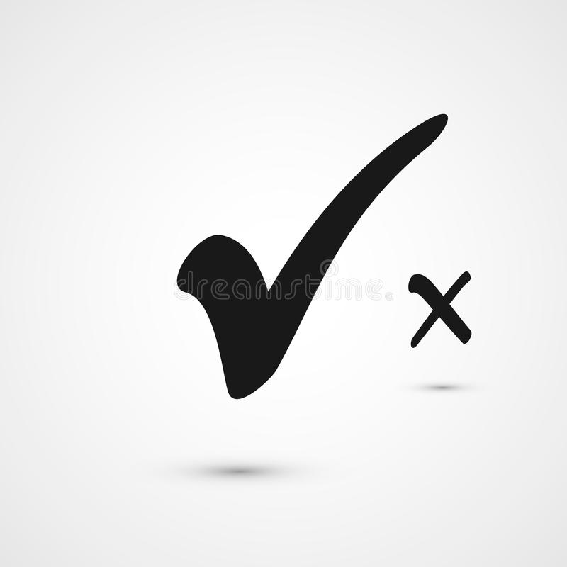 Check box list icons tick and cross, black marks. Isolated vector illustration royalty free illustration
