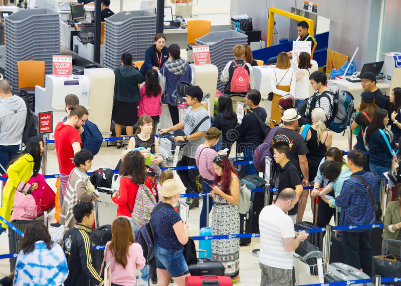 Check-in busy line at airport royalty free stock image