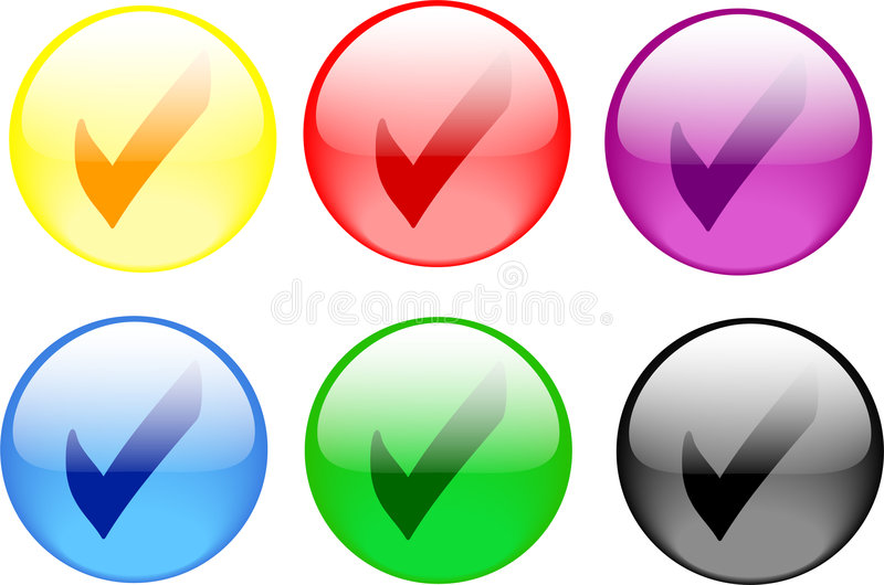 Check Button. Illustration of a check mark button in six colors stock illustration