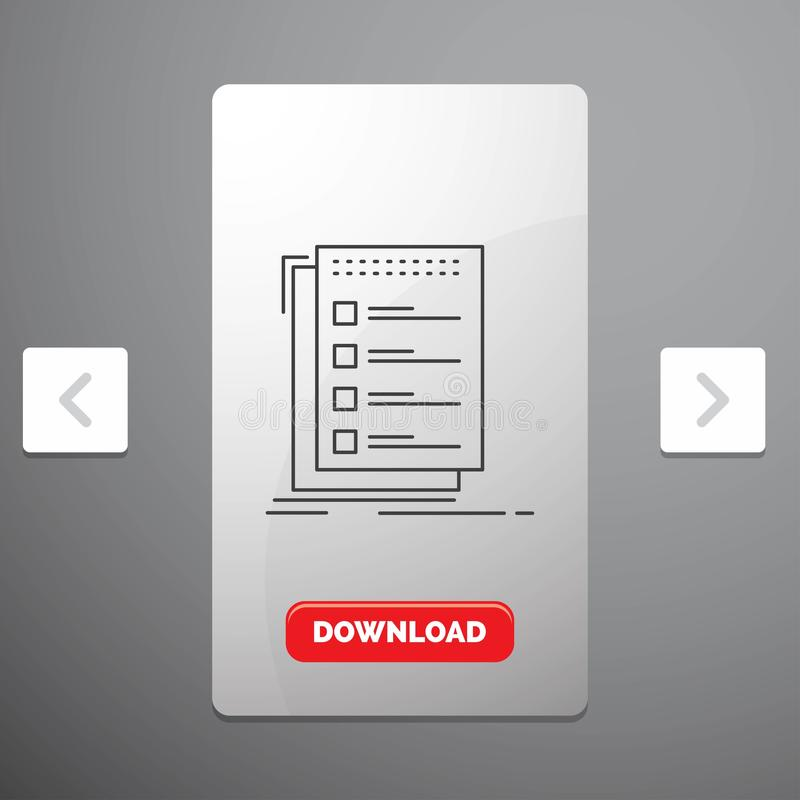 Check, checklist, list, task, to do Line Icon in Carousal Pagination Slider Design & Red Download Button royalty free illustration