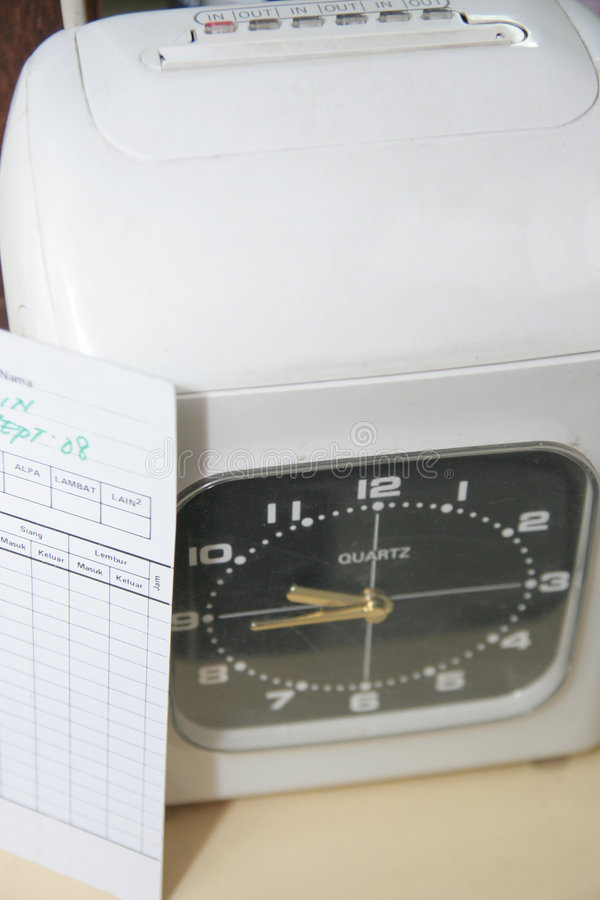 Check clock absence. Photograph of check clock absence royalty free stock image