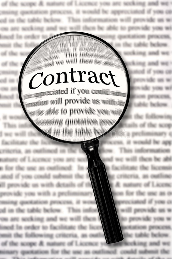 Check that Contract. Magnifying glass over contract document, highlighting the word contract. Check that fine print